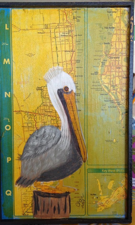 Pelican mixed media on wood by russgang on Etsy