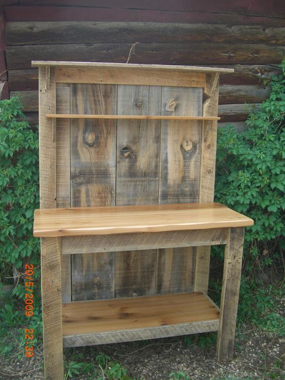 Reclaimed Barnwood Furniture potting table