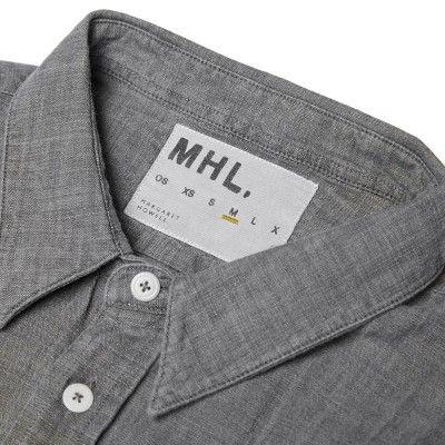 MHL by Margaret Howell Organic Chambray Slim Work Shirt (Grey)