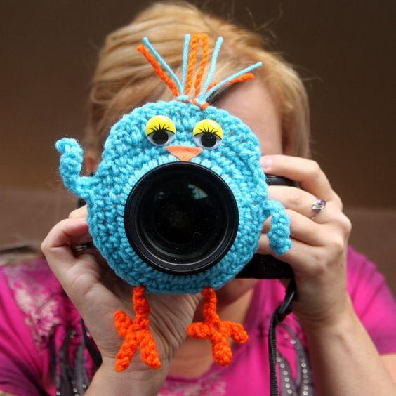 Camera lens buddy. Crochet lens critter blue bird. Photographer helper. $13.99, via Etsy.
