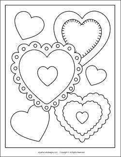 Kids can color this cute Valentine's card design for Mom, Dad or a friend - free printable