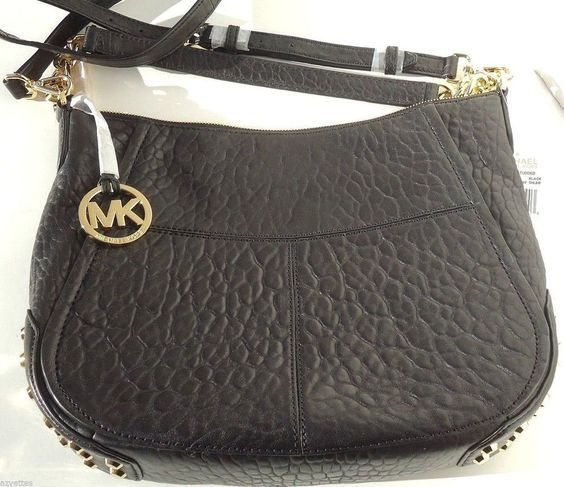 Michael Kors Shelley Studded Large Leather Shoulder Handbag in Black NWT $398 #MichaelKors #ShoulderBag