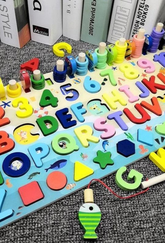 Number Alphabet Wooden Montessori Fishing Toy Business For Kids Teaching Toy Montessori Toys
