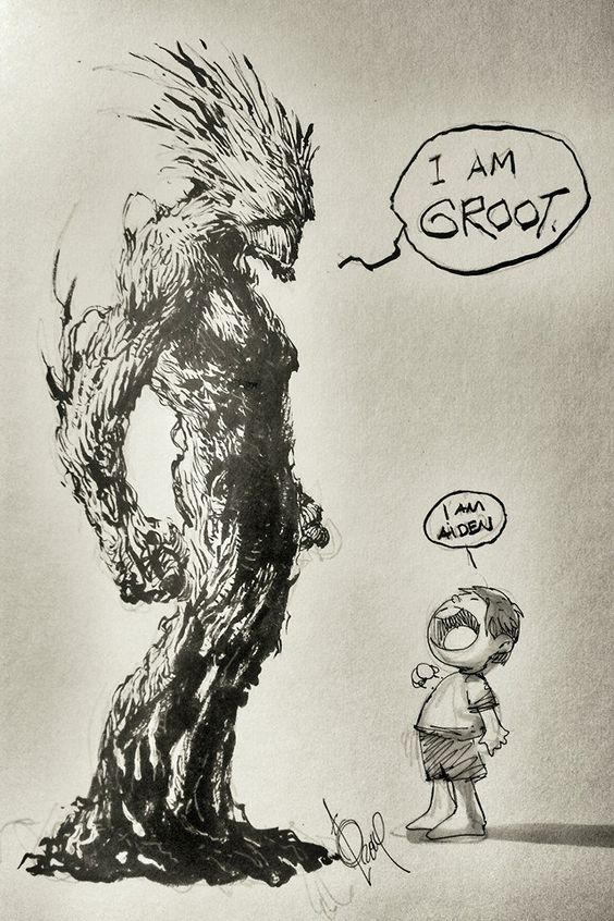 Groot and Star-Lord by Alan Quah *