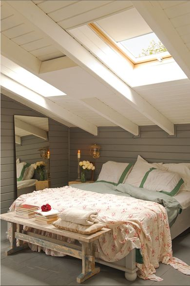 Cozy attic bedroom painted wood siding and skylights for Bedroom skylight