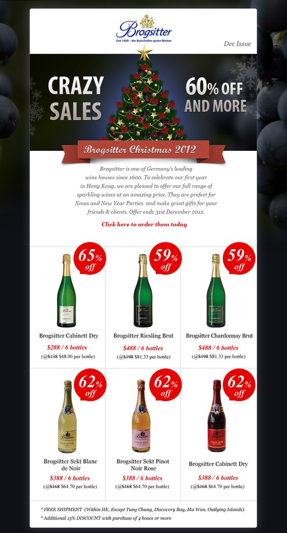Christmas promotion design for brogistter germany wine for Christmas newsletter design ideas
