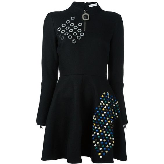 J.W.Anderson embellished flared dress ($1,261) ❤ liked on Polyvore featuring dresses, black, flared dresses, embellished dress, j.w. anderson, embelished dress and j.w. anderson dresses