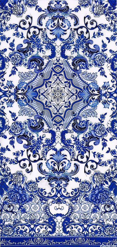 Blue & White - Porcelain Elegance - Quilt fabrics from www.eQuilter.com (could this colours be nice for gilt leather?):