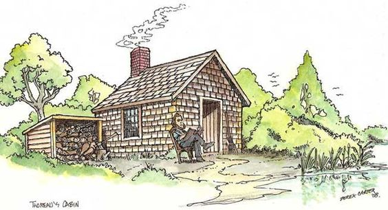 Henry David Thoreau and His Cabin on Walden Pond. #thoreau #walden