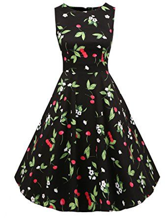 Amazon.com: ACEVOG Vintage 1950's Floral Spring Garden Party Picnic Dress Party Cocktail Dress: Clothing