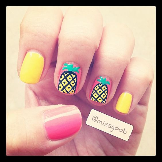 Are fruits in trend now?!  Decided to do a pineapple one cos it reminds me of beaches and I need a beach holiday like right now!!! - @missgoob- #webstagram