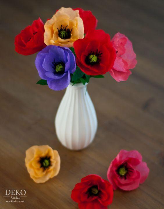 Diy Tolle Herbstblumen Anemonen Mohnblumen Aus Krepppapier Deko Kitchen Paper Flowers Flower Crafts Diy Paper