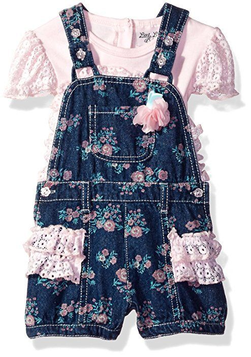 3ba0e246c Amazon.com  Little Lass Baby Girls  2 Pc Printed Denim Shortall Set ...
