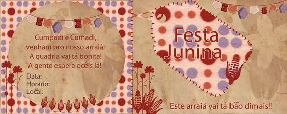 Festas Juninas moldes convites EVA