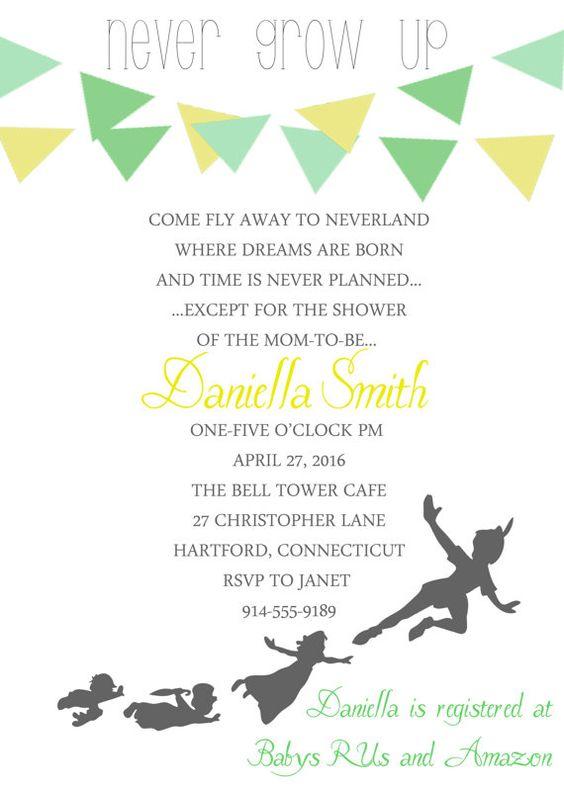 peter pan baby shower invitation   disney, cumpleaños y ideas para, Wedding invitations