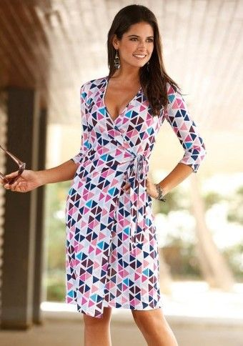 Zavinovací šaty s geometrickým vzorem #ModinoCZ #dress #geometric #spring #style #šaty #móda #fashion #outfit