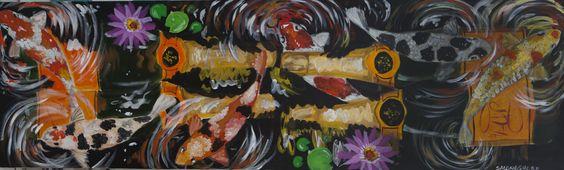 """Veuve Clicquot in the Koi Pond"" 24 x 80"