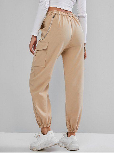 Pantalones Jogger De Cadena Con Bolsillos De Solapa Light Khaki Black Pantalones Con Bolsillos Pantalon Beige Mujer Pantalones De Chandal