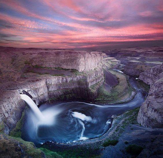 The Palouse Falls lies on the Palouse River in southeast Washington