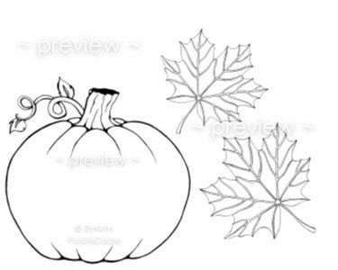 Printable Adult Color Page Pumpkin Autumn Leaves Twin