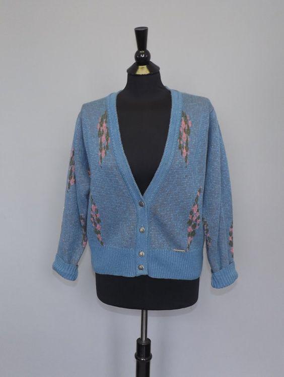 Vintage Retro 1980s 90's Geiger Wool Knit Cardigan Winter Knit Sweater Geometric Medium Hipster Retro Nordic Scandinavian Grunge Boho Blue