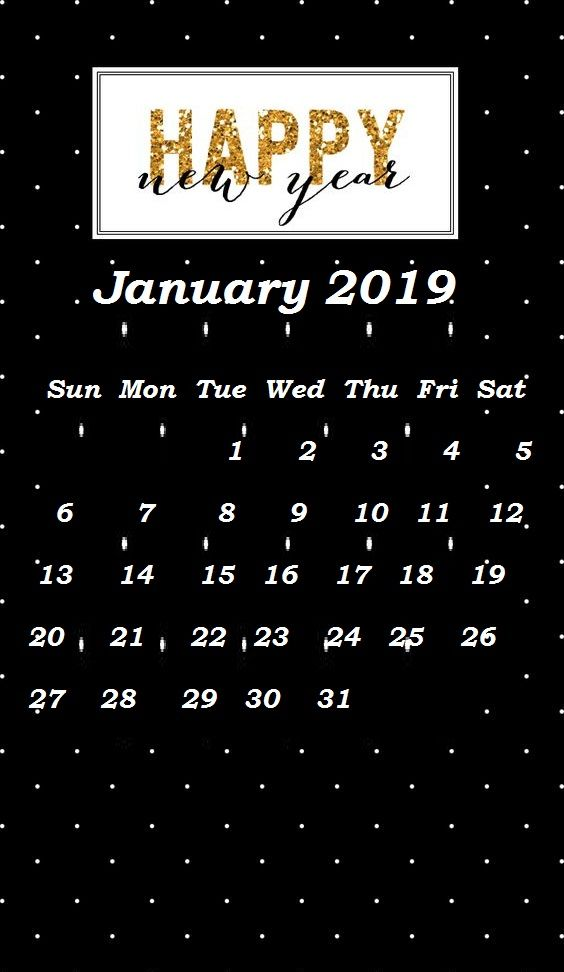 Happy New Year 2019  Monthly Calendar Templates in 2019