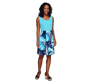 Susan Graver Liquid Knit Sleeveless Tank and Printed Skirt Set