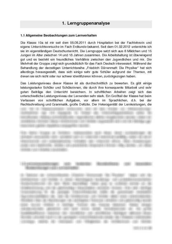Unterrichtsentwurf Charakterisierung Von Fraulein Dr Von Zahnd Die Physiker Unterrichtsplanung Germanistik Deutsch Physiker Physik Unterrichtsplanung
