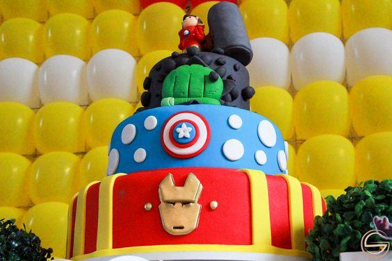 Super-Herói  Thor, Hulk, Capitão America , Homem de Ferro, Cake