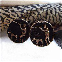 Vintage Cufflinks Hunter w Hunting Dog 1950s Mens Jewelry