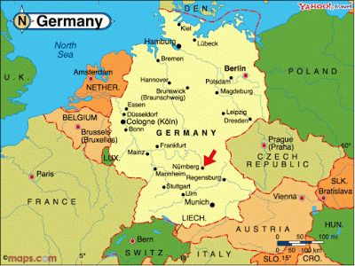 Map of Germany with Cities in ...