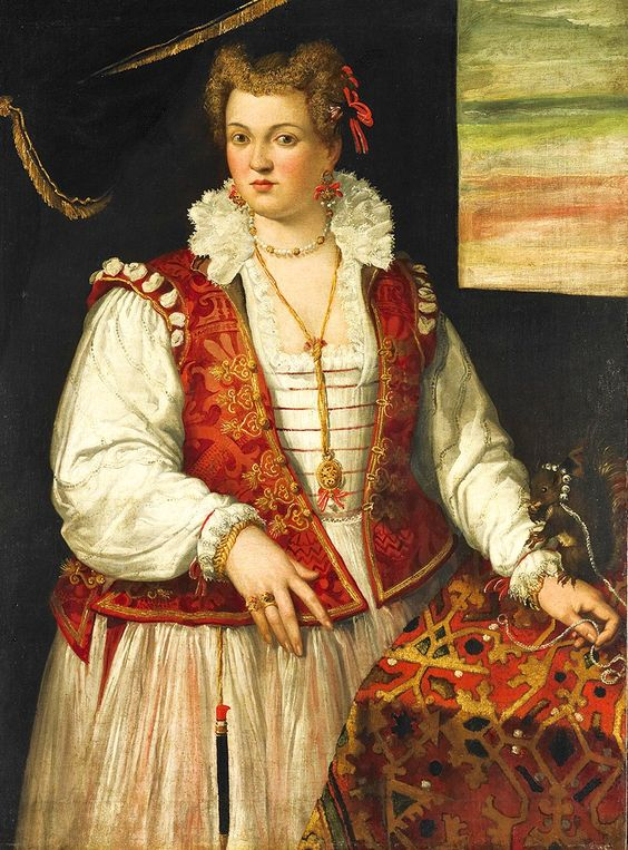 1565 Francesco Montemezzano (Italian, Venetian, ca. 1540–after 1602). Portrait of a Lady with a Squirrel on a chain with a bell collar.:
