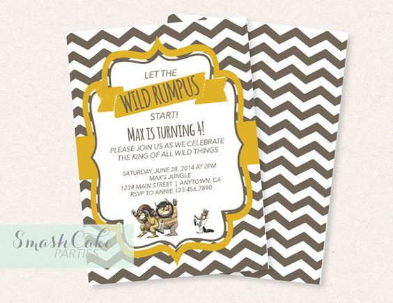 where the wild things are baby shower or birthday party invitation