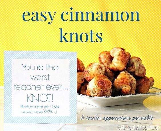 Easy Cinnamon Knots with Free Teacher Appreciation Printable -- Tatertots and Jello