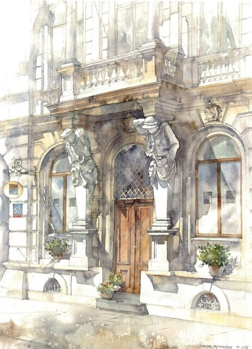 Classical Architecture Watercolor | Mokotowska 57 by Joanna Pętkowska: