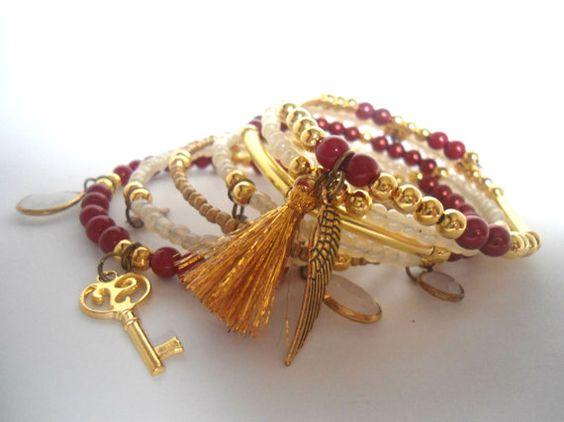 Gold red wrap bracelet Memory wire bracelet by AmorPorteno on Etsy