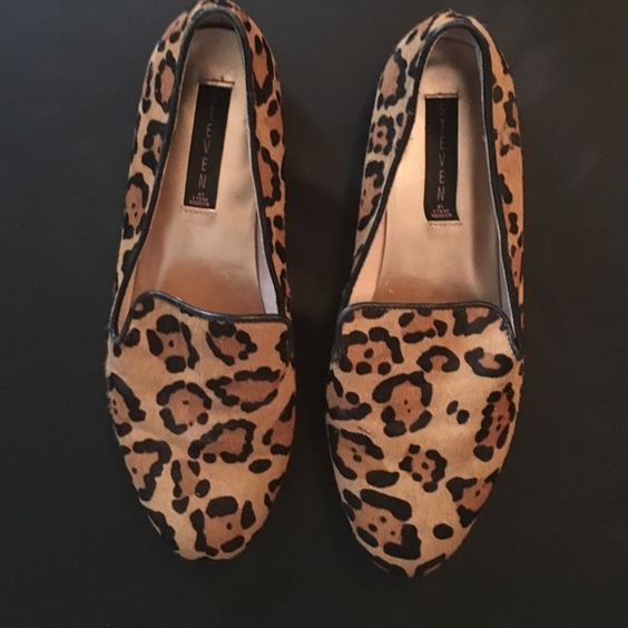 Leopard print Steve by Steve Madden Flats These shoes are super cute with a pony hair upper for the material. They have some scratches on them as seen in the last picture but the bold print makes them hard to notice. Great shoe! Steven by Steve Madden Shoes Flats & Loafers