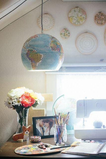 DIY Globe Pendant Light by Delightfully Tacky, via Flickr