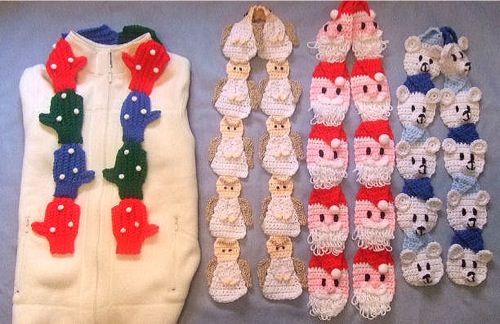 Why wear a simple or plain crochet scarf, when you can make one that stands out and demands to be noticed. The Funtime Scarves are sure to brighten up any gloomy winter day when you drape them around your neck. This cute crochet scarf pattern set includes instructions for all four designs, Our Little Angel, Santa, Polar Bear and Mittens. Our little Angel scarf features a halo and wings for an angelic look, Santa comes all set with his scruffy loopy beard, the Polar Bear is wearing a nice w