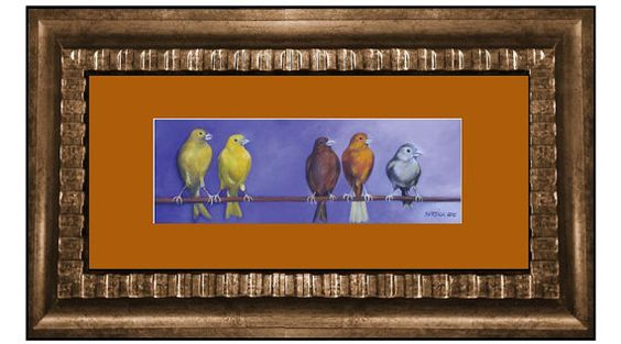 Where did he go? These cute canaries are all looking for their friend and the artist captures the look perfectly. Bertica Dubus Garcia