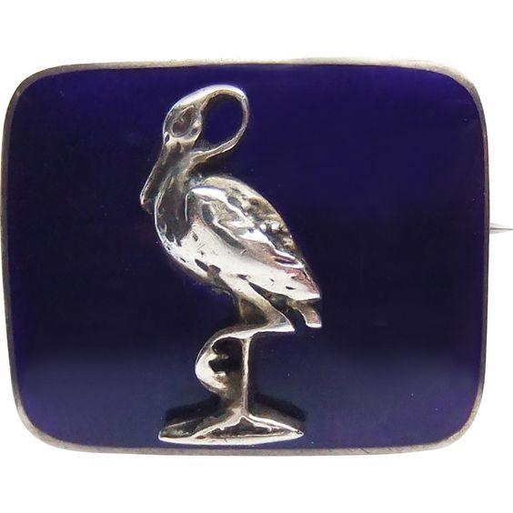 Antique Silver and Cobalt Blue Enamel Stork Bird Brooch Pin