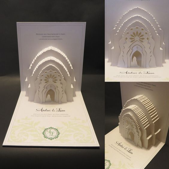 3d wedding invitations. pop up invites by. white 3d embossed gold, Wedding invitations