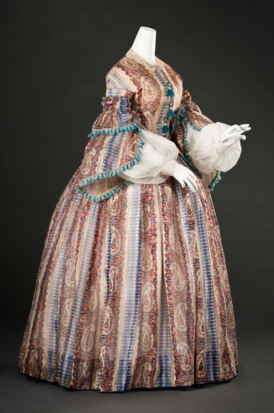 Day Gown  Europe or United States, c. 1857  Printed twill-striped silk gauze, silk fringe & silk ribbon