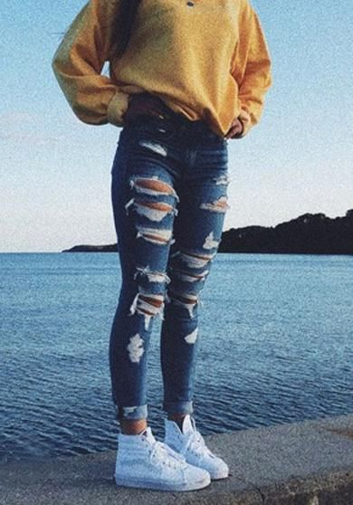 Ripped Jeans Outfit Ideas For School : ripped, jeans, outfit, ideas, school