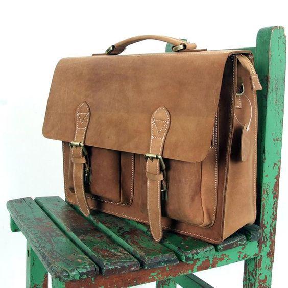 Handmade Vintage Leather Briefcase / Messenger Bag -- with a 14 15 Laptop / 13 15 MacBook Sleeve
