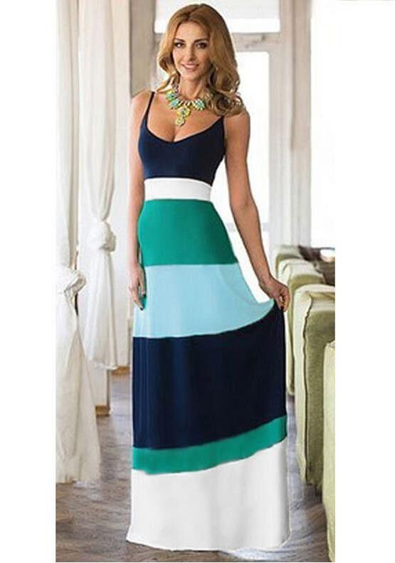 Women Summer Dress 2015 Casual Striped Maxi Dress Desigual Boho Beach Dress Vestidos Vestido Longo Robe Longue Femme Plus Size