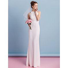 Lanting+Mantel+/+Spalte+Hochzeitskleid+-+Elfenbein+bodenlange+Juwel+Chiffon+/+Spitze+–+EUR+€+117.59