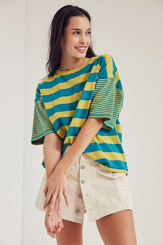 Slide View: 1: BDG Boston Stripe Ringer Tee
