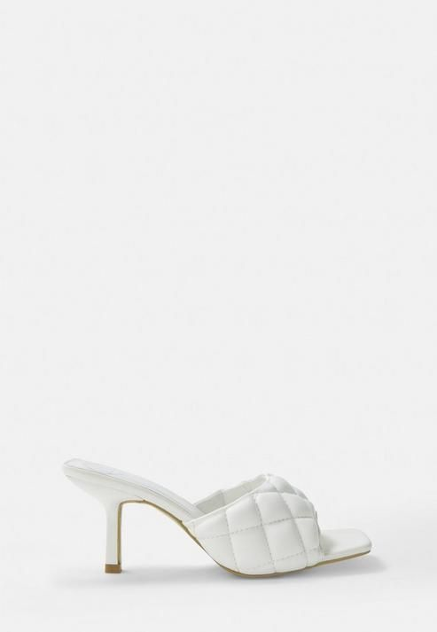 White Padded Mid Heel Mules in 2020