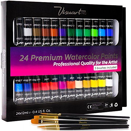 Students Or Professional Artists Watercolor Paint Set With 24 Premium Watercolor Paint Tubes And 5 Brushes Beginners The Perfect Painting Kit for Adults